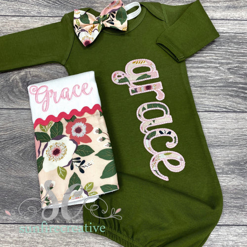 Personalized Baby Girl Gown - Hospital Outfit