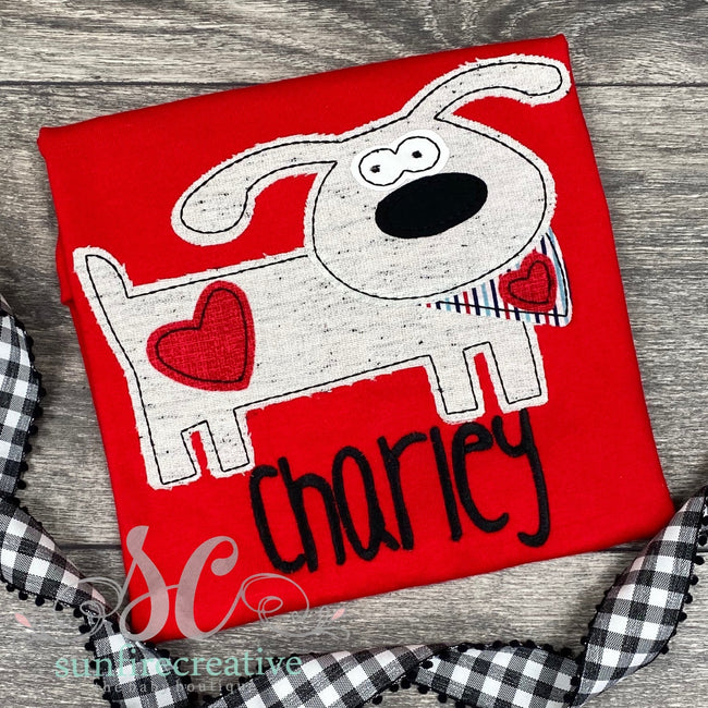 Red Valentine Dog Shirt - Sunfire Creative Baby Boutique