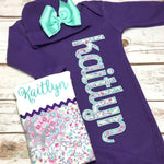 Purple and Mint Baby Girl Outfit - Sunfire Creative Baby Boutique