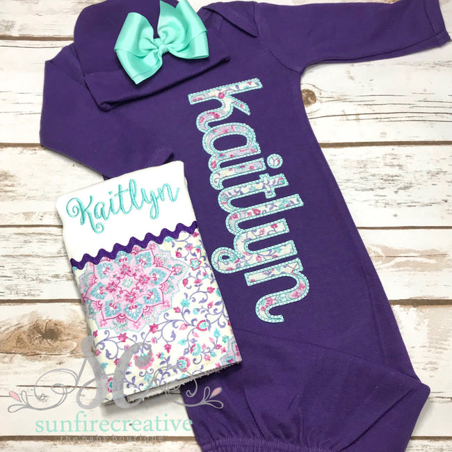 Purple and Mint Baby Girl Outfit