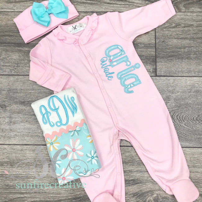 Pink Coming Home Footed Outfit - Newborn Outfit - Sunfire Creative Baby Boutique