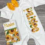 Sunflower Coming Home Footed Outfit - Newborn Outfit