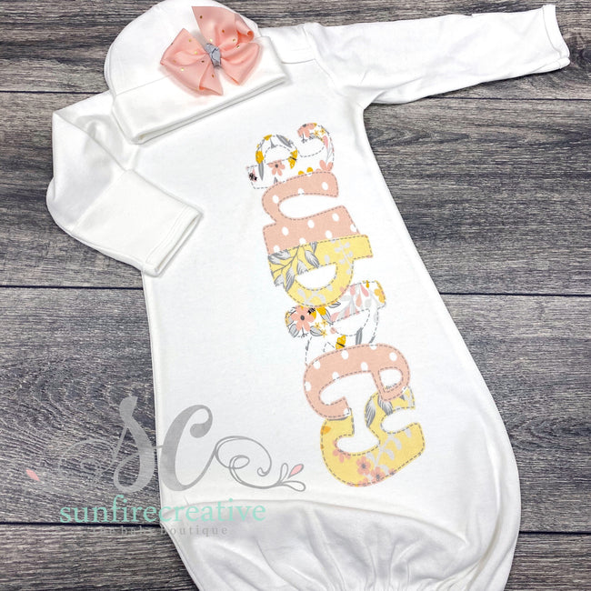 Yellow & Coral Floral Baby Gown - DTG - Sunfire Creative Baby Boutique