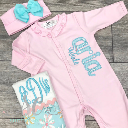 Pink Coming Home Footed Outfit - Newborn Outfit