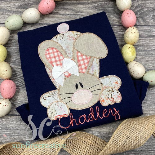 Navy Easter Bunny Shirt for Girl