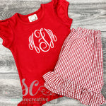 Red & White Monogrammed Shirt with Optional Shorts