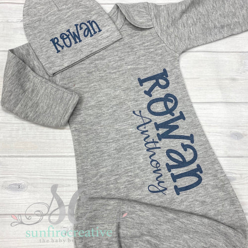 Gray & Navy Printed Baby Gown - DTG