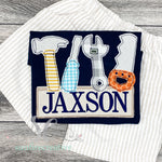 Navy Toolbox Shirt - Sunfire Creative Baby Boutique