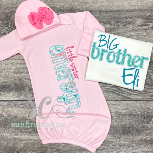 Big Brother Shirt - Little Sister Gown - Sibling Outfit - Coming Home Outfit