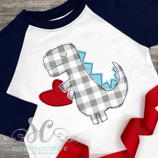 Dinosaur with Heart - Valentine Shirt - Sunfire Creative Baby Boutique