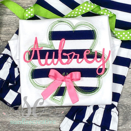 Navy Striped Clover Shirt - St Patrick's Outfit