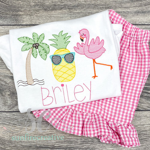 Flamingo, Pineapple, Palm Tree Shirt - Summer Outfit