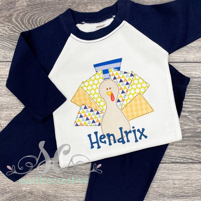 Turkey Boy Outfit - Printed Turkey Shirt - DTG - Sunfire Creative Baby Boutique