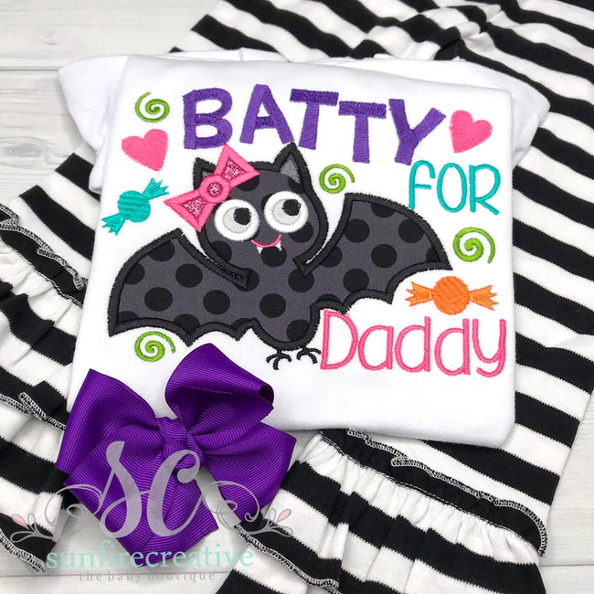 Batty for Daddy Shirt - Halloween Shirt for Girl - Halloween Outfit - Sunfire Creative Baby Boutique