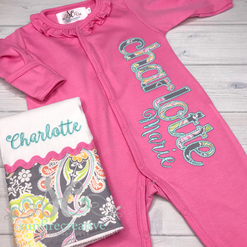 Pink and Mint Footed Sleeper - Baby Girl Outfit