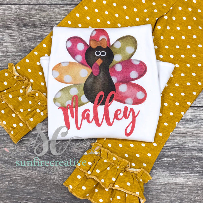Miss Turkey Outfit - Printed Turkey Shirt - DTG - Sunfire Creative Baby Boutique