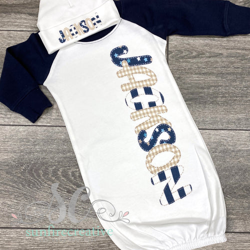 Navy Raglan Baby Gown with Stars - DTG
