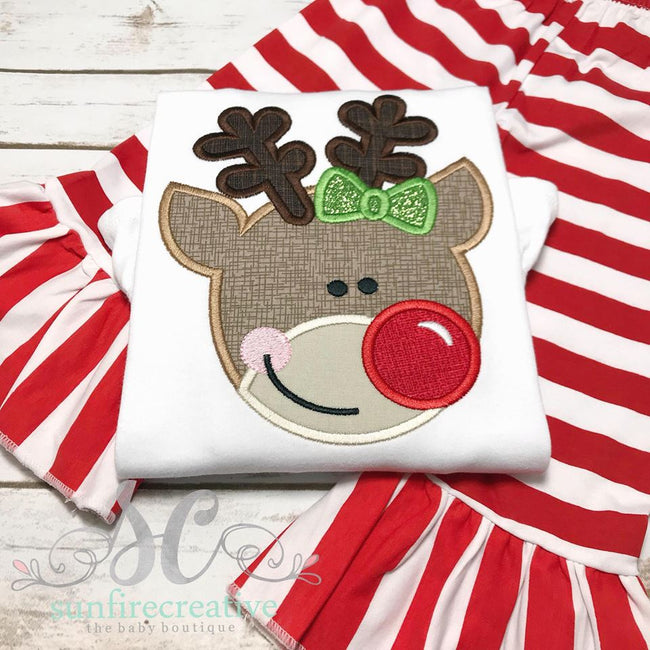 Reindeer with Bow Outfit - Girl Christmas Outfit