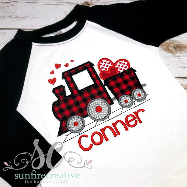 Boy Valentine Day Shirt - Holiday Outfit - Valentine Train Shirt - Sunfire Creative Baby Boutique
