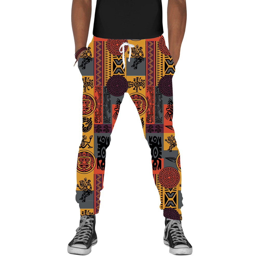 Gold Tribal Print Joggers