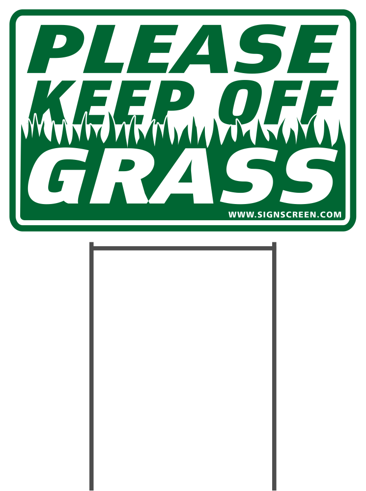 "PLEASE KEEP OFF GRASS 8""X12"" Plastic Coroplast Sign with Stake"