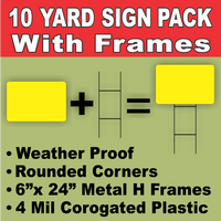 BLANK YARD SIGNS 10 PACK  Yellow LARGE with H-Stakes DIY~Sign Kit FREE SHIPPING