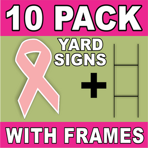 BLANK Yard Signs With Frames Pink LARGE Cancer Ribbon H-Stakes DIY~Sign Kit FREE SHIPPING