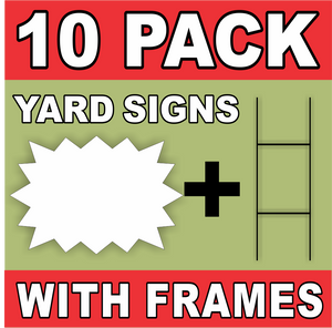 BLANK YARD SIGNS 10 PACK White Starburst LARGE with H-Stakes DIY~Sign Kit FREE SHIPPING