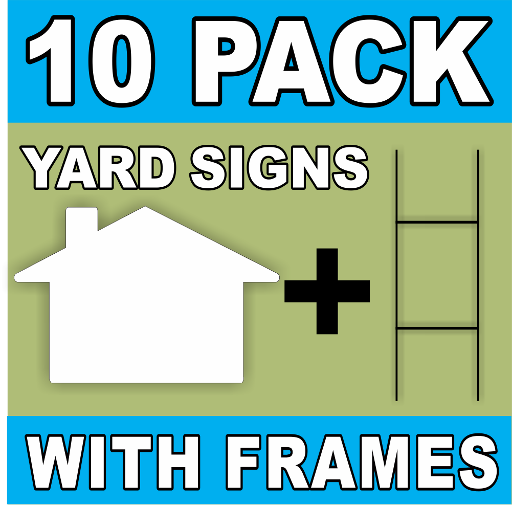 BLANK YARD SIGNS 10 PACK White LARGE House Shaped with H-Stakes DIY~Sign Kit FREE SHIPPING