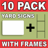 BLANK YARD SIGNS White LARGE 10 PACK with H-Stakes DIY~Sign Kit FREE SHIPPING