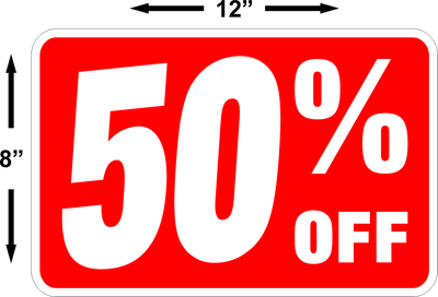 50% Off Sale Sign FREE SHIPPING