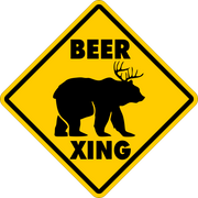 "BEER CROSSING~Funny Novelty Xing Gift Sign 16""x16"" LARGE FREE SHIPPING"