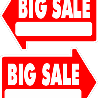 Yard Sale Sign Arrow Shaped With Frame  Big Sale FREE SHIPPING