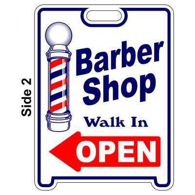 BARBER SHOP OPEN Sign Sandwich Board~Free Standing~Weather Proof~High Visibility