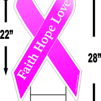 "Breast Cancer Faith Hope Love Large 22""x 12"" Outdoor Ribbon Shaped Yard Sign FREE SHIPPING"