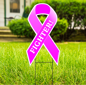 "Breast Cancer Fighter Large 22""x 12"" Outdoor Ribbon Shaped Yard Sign With Frame FREE SHIPPING"