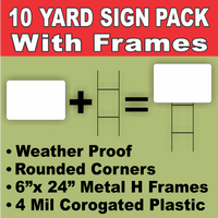 BLANK Yard Lawn Signs White Medium with H-Stakes DIY~Sign Kit (10 PACK) FREE SHIPPING