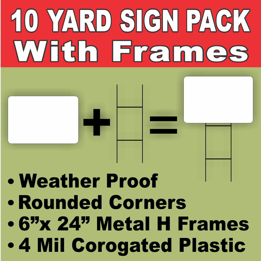 Blank yard lawn signs white medium with h stakes diysign kit 10 pack free shipping