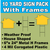 BLANK Yard Signs LARGE Yellow House Shape with H-Stakes DIY~Sign Kit (10 PACK) FREE SHIPPING