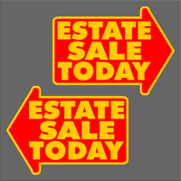 Estate Sale Today Yard Sign Large Yellow FREE SHIPPING