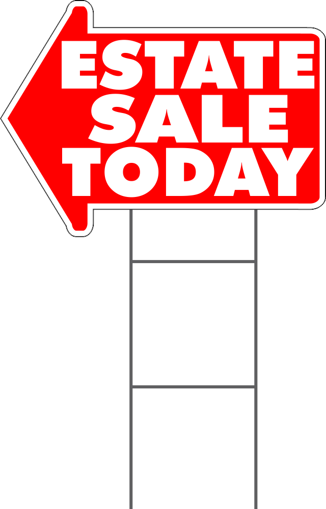 Estate Sale Today Yard Sign Arrow Shaped With Frame White/Red As Low As $8.95 FREE SHIPPING