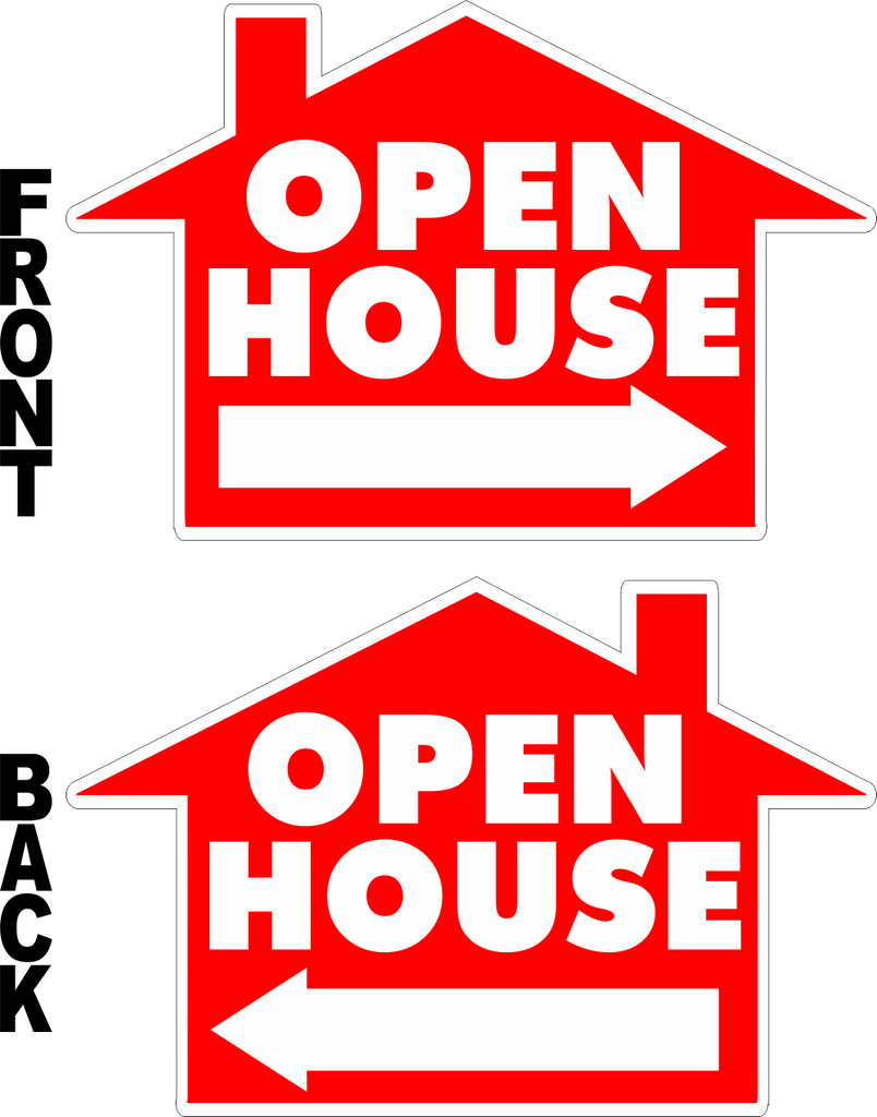 Open house house shaped yard sign sign screen yard signs for House open