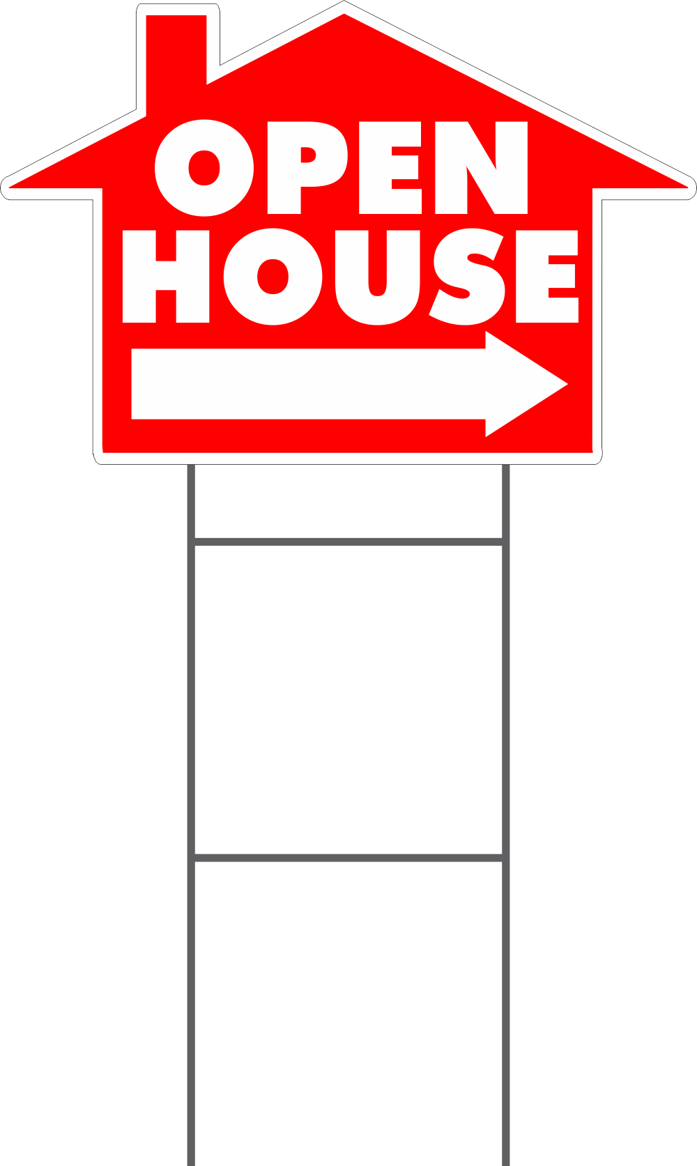 Open House House Shaped Yard Sign | Sign Screen~Yard Signs, Security ...