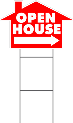Open House House Shaped Yard Sign