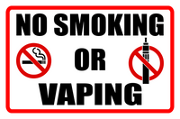 NO Smoking or Vaping Sign