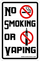 NO Smoking or Vaping Sign 12