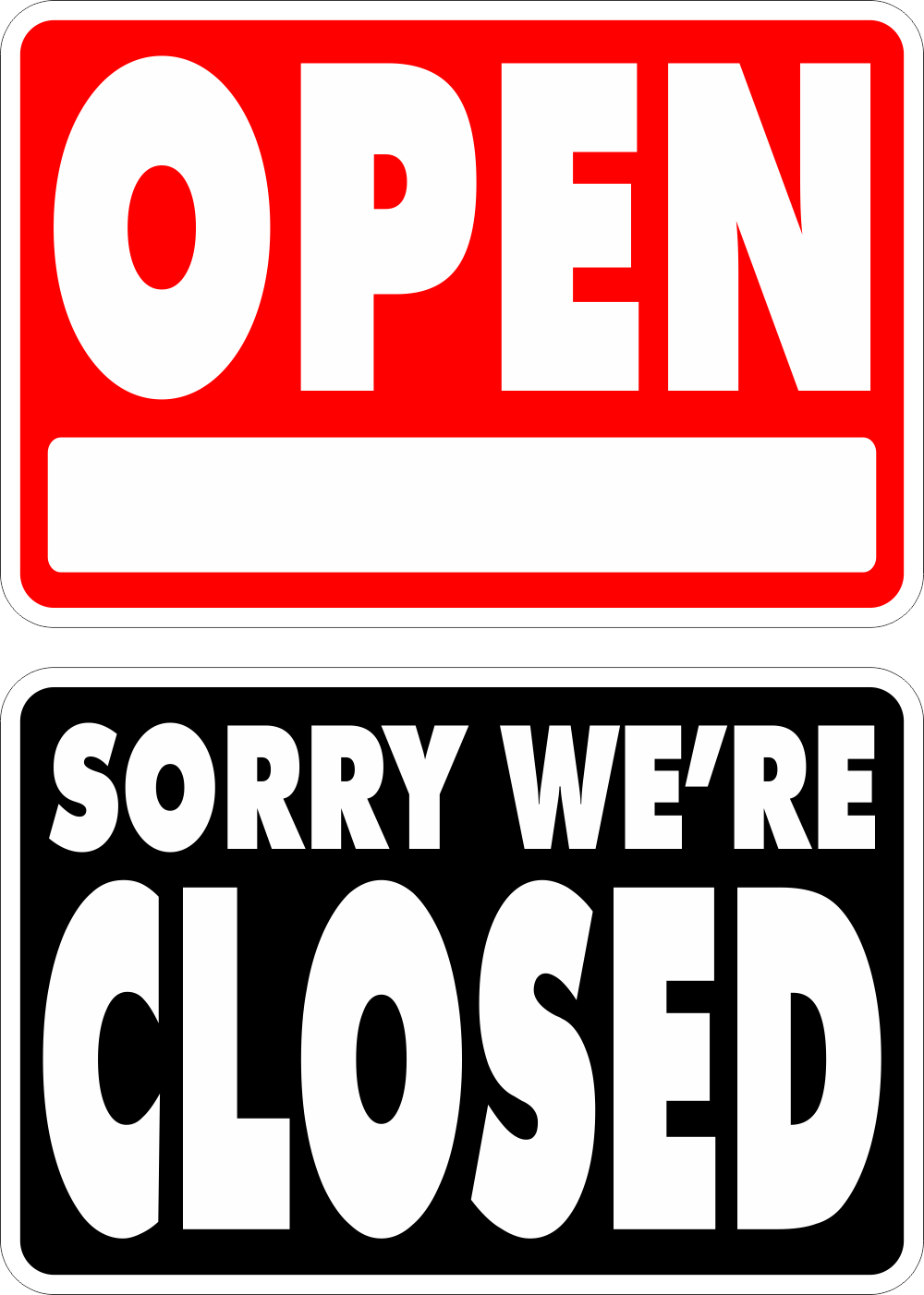 Open/Closed Sign LARGE~FREE SHIPPING