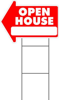 Open House Arrow Shape Yard Sign