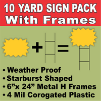 BLANK YARD SIGNS 10 PACK Yellow Starburst LARGE with H-Stakes DIY~Sign Kit FREE SHIPPING