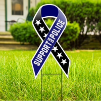 SUPPORT OUR POLICE Large Ribbon Shaped 22